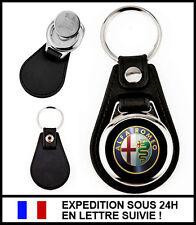 Porte-clé auto ALFA ROMEO simili-cuir métal + jeton caddie - Keychain Keyring