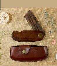 2x Beardhood Pocket Folding Wooden Beard Comb With Premium Carry Case