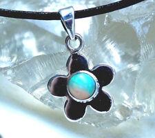 Kettenanhänger Klein Fein Silber Edelopal Weiß A+++ Opal Schlicht Blume Floral