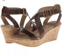 Tsubo Olivette Womens 9 Brown Leather Strappy Cork Platform Wedge Sandals Heels