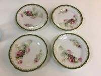 (4) KPM-Germany-Dessert Plates-Pink & Red Roses-Green Gilded Border-Victorian