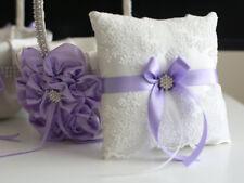 Lace Bearer Pillow Light Purple Wedding Flower Lace Ring bearer Girl Basket Set