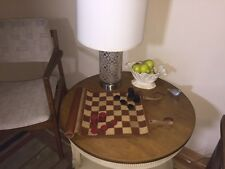 VINTAGE TOP GRAIN LEATHER CHESS CHECKERS GAME SET TRAVEL ROLL UP BOARD NICE!