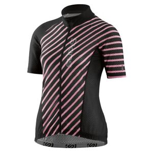 SKINS Cycle Womens Lovecat X-Light Short Sleeve Full Zip Jersey - Black/Cosmo