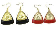 Wholesale Lot 8 Pair VTG Gold Filigree Rhinestone Enamel Earrings Black Red