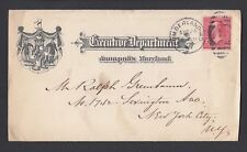 USA 1898 EXECUTIVE DEPARTMENT COVER ANNAPOLIS MARYLAND TO NEW YORK
