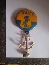 "Vintage 1940's-50's Navy Midshipmen Football Pin Pinback 1 3/4"" w/Anchor Charm"