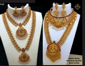 Indian Bollywood Gold Plated Long Necklace Temple Jewelry Ethnic Set Combo of 2