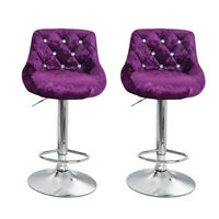Set Of 2 Bar Stools Adjustable Swivel Bistro Pub Dining Counter Chair Fabric USA