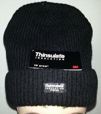 3M Thinsulate Lined Rag Wool Beanie Black Stretch Fit Winter Warm Hat Cap Ski