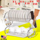 2-Tier Multi-function Stainless Steel Dish Drying Rack,Cup Drainer Strainer LOT