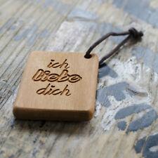 ICH LIEBE DICH Schlüsselanhänger mit Gravur Holz Kirschholz