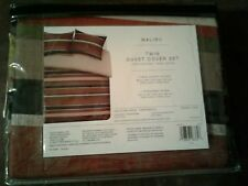 Boy Striped Duvet Cover Sham Reversible Malibu Cotton Distressed Blue Tan Maroon