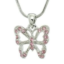 Butterfly Made With Swarovski Crystal Pink Wings Necklace Jewelry Pendant