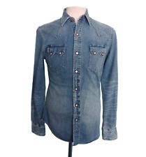 RRL Double RL Ralph Lauren Mens Western Denim Shirt Pearl Snap Vintage Blue S