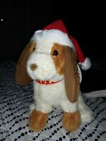 """Christmas Puppy Plush With Santa Hat 11"""" Tall New"""