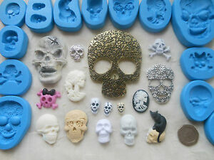 1x Mini Craft Mould: SKULL (Skeleton Gothic Zombi Halloween) Clay Cupcake Resin