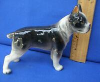 VTG American Terrier / Boston / Large Porcelain Figurine Japan Black White Dog