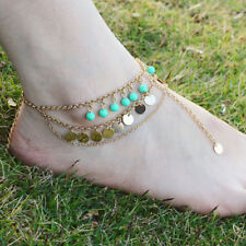 Boho Gypsy Gold Coin Anklet Turquoise Bead Ankle Bracelet Beach Foot Jewelry