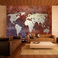 Fototapete Tapete Wandbild 040896FW Vlies Weltkarte auf Ziegelwand Landkarte Kon