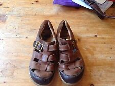 Clarks Brown Leather Sandals UK 11.5F Toddler Child