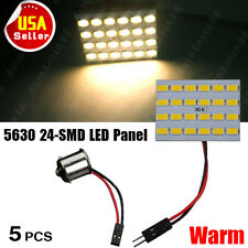5X Warm White Car RV Trailer 1156 BA15S Adapter+5630 24-SMD Dome Panel LED Light