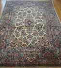GENUINE ANTIQUE FLORAL KERMANN HAND KNOTTED WOOL ORIENTAL RUG CLEANED 9.7x14.4