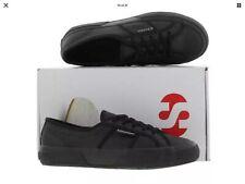 Superga 2750 Negro Cuero Clásico Zapatos Talla 4 Uk, Nuevo Y En Caja
