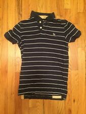 Ruehl 925 by Abercrombie Blue White Striped S/S Polo Shirt Sz S Fitted RARE