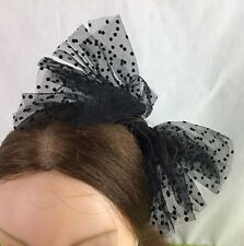 Ladies Fascinator Black Polka Dots Bow Headband / Alice Band