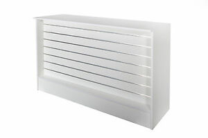 Shop Counter with Slatwall Front- White-1500L