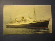 1951 SS NIEUW AMSTERDAM STEAMSHIP POSTCARD - Holland America - BARBADOS Stamp