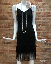 Tarot Black Fringe Tassle Flapper Gatsby 1920s Charleston Party Dress T1 fits 8