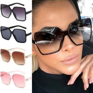 Oversized Square Flat Top Sunglasses Large Black Square Women Ladies Big UV400