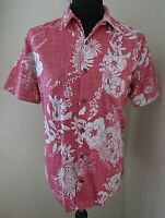 Fat Face Short Sleeve Men's Red/Pink Floral Hawaiian Bowling Shirt ~ Medium