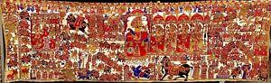 "RARE Painting from India Rajasthan 157"" wide X 53"" tall Pabuji Ki Phad Narrative"
