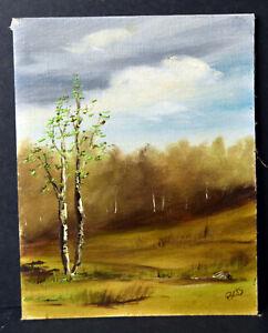 "9"" Vintage Oil Painting Cardboard Summer Landscape Forest Green Tree Signed Bets"