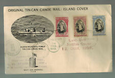 1938 Tonga Toga Tin Can Canoe Mail Last Day Cover to the USA Quensell Signed