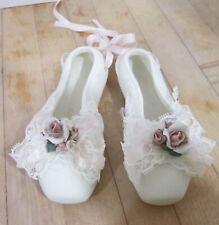 Vintage Enesco white with pink flowers 2 bisque ballerina ballet slippers - Ec