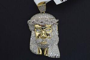 10k Solid Yellow Gold Hip Hop SI Diamond 0.875 CT Jesus Head Pendant Charm