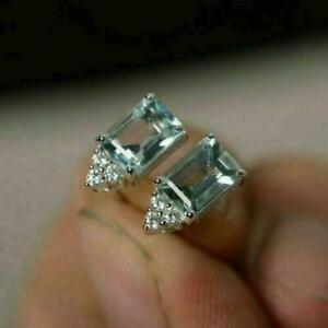 3Ct Emerald Cut Aquamarine Women's Solitaire Stud Earrings 14K White Gold Finish