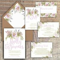 Personalised Luxury Rustic Wedding Invitations LILAC/LAVENDER/FLORAL packs of 10