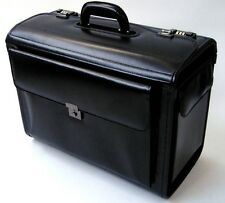 Large Leather Pilot Case Business Laptop Travel Flight Briefcase Bag Hand Luggag