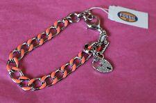 Fossil Charm Bracelet Starter Orange Silver Tone Chain Link Heart Locket NWT