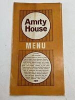 Vintage Amity House Restaurant Menu Pennsylvania 1974