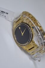 Men's Movado Stiri  Gold Tone Custom Set Diamond Swiss Watch 0606195