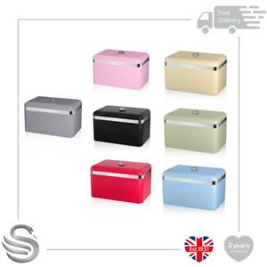 Swan Retro Metal Bread Bin 18L Kitchen Storage Capacity Stainless Steel Chrome