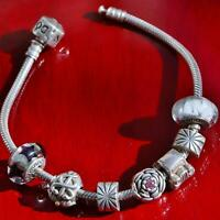 "Authentic Pandora 925 sterling silver 7.75"" charm bracelet w/7 charms 40.3g 2638"