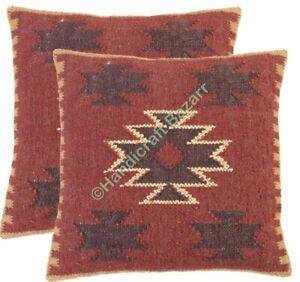 Indoor Decor Cushion Cover Kilim Jute Pillowcase Sofa Sham Ethnic Cushion 2 Pcs