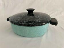 Vintage Mid Century Spaghetti String Pattern Enamel Cookware, Teal & Black